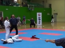 Knockout kick by girl during competition