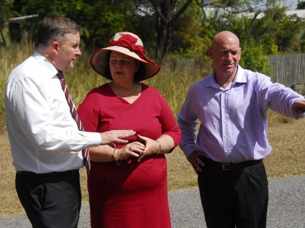 Deputy Prime Minister Anthony Albanese, with ALP candidate Chris Trevor and a number of Gladstone Regional Council councillors, announced $9 million funding for a road leading to the planned Philip Street precinct.