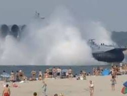 Russian hovercraft arrives on beach
