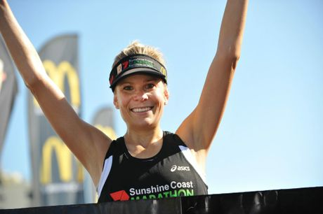 Roxie Fraser wins the women's race at the Sunshine Coast Marathon 2013. Photo: Iain Curry / Sunshine Coast Daily