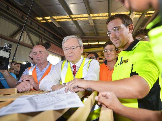 ALP candidate Chris Trevor, Sam Muir and Jamie Lamberton at GAGAL's Training Centre, Beckinsale Street, Gladstone.