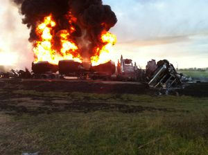 Fuel tankers go up in flames