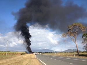 Fuel tankers up in flames on highway