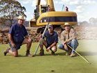 Warwick Golf Club greens chairman Bob Lester, course superintendent Craig Cox and president Steve Gander on the 12th green, one of six being rebuilt.