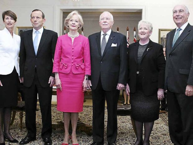At yesterday's swearing-in ceremony (from left) Margie Abbott, her husband Tony Abbott, Governor-General Quentin Bryce, her husband Michael Bryce, Lyn Truss and her husband Warren Truss.