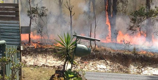This hazard reduction burn on Sandy Creek Rd at the weekend became its own hazard for resident Lyle Barry.