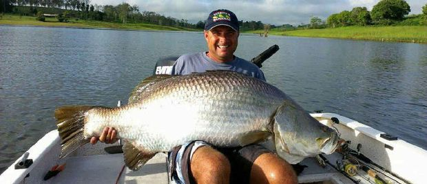 WHAT A WHOPPER: Fishermen on the Fitzroy River will be hoping to catch a big barra at today's Rocky Barra Bounty but will any of them get anywhere near the size of this monster caught on Atherton Tableland's Lake Tinaroo? Inset: Local Bill Sawynok.