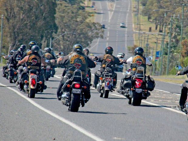BIKIES IN TOWN: The Life and Death motorcycle club members heading along the New England Hwy towards Warwick after being cleared by the police.