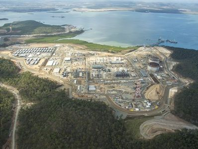 Gladstone's Curtis Island, where three LNG plants are under construction and a fourth is proposed.