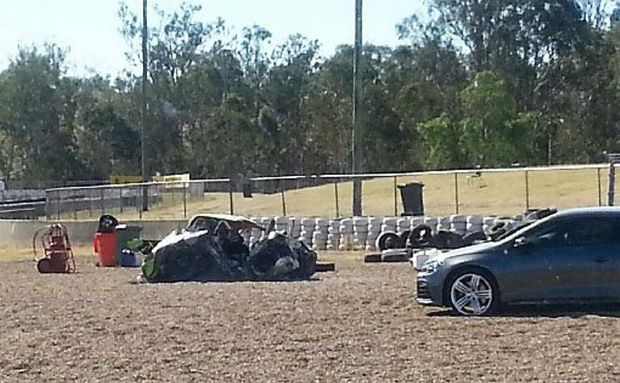 WRECKAGE: The crumpled shell of the Porsche. Photo: Contributed