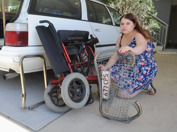 A Hervey Bay woman is calling for help from the public to find the person who crushed her wheelchair and leaving her confined to her home.