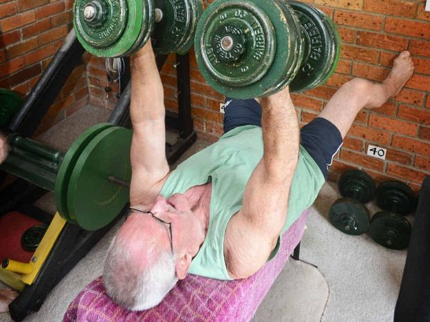 Bruce Bender of Grafton still lifting weights on his 75th birthday.