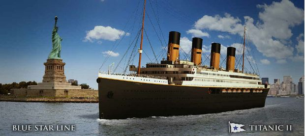 BIG DREAMS: A computer generated image of the Titanic II, which Clive Palmer hopes will make its maiden voyage from Southampton to New York in 2016. Not content with that, the Coast resort owner now intends to make a film about the voyage.