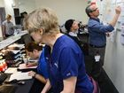 FLAT OUT: Ipswich Hospital emergency department's hectic staffing station.