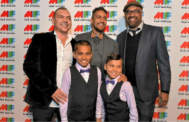 Sand director Stephen Page (left) and Waangenga Blanco, producer John Harvey and (front L-R), Jarli-Russell Blanco and Jakory Blanco at the world premiere of Tim Winton's The Turning in Melbourne. JIM LEE PHOTO