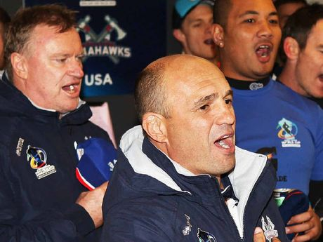 WELCOME: Former Brisbane Bronco star and current USA coach Terry Matterson (centre) has been identified by the Western Corridor NRL bid boss Steve Johnson (left) as an ideal coach for the side.