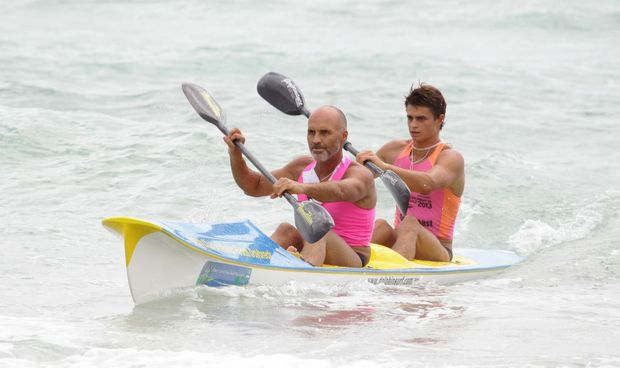 Maroochy Classic surf lifesaving carnival at Maroochydore Beach (Saturday): Grant Kenny, front. Photo: Brett Wortman / Sunshine Coast Daily