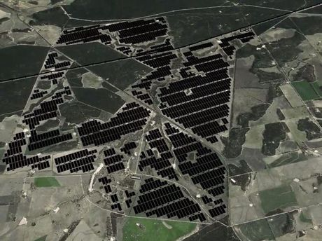 A 3D rendering of the proposed Bulli Creek Solar Farm near Millmerran.