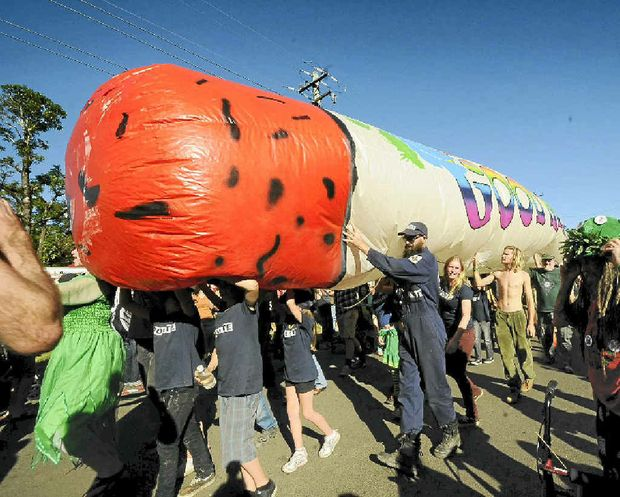 DISJOINTED: The Big Joint makes its way in last year's Nimbin MardiGrass.