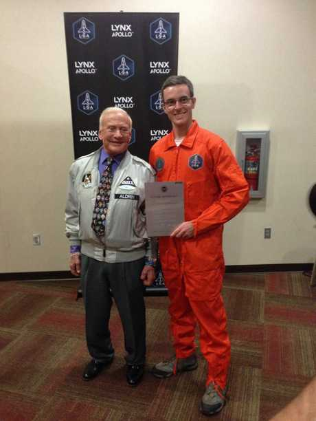 Yeppoon's Tim Gibson with astronaut Buzz Aldrin.