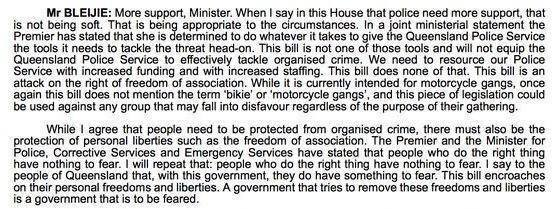 Hansard from 2009 shows Jarrod Bleijie opposing laws similar to VLAD.