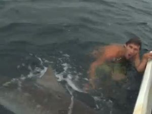 Near shark attack off Gold Coast (contains offensive language)