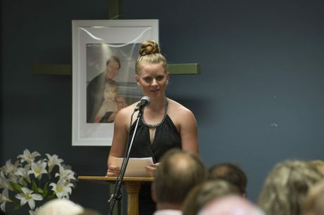Yvana's cousin Grasienne Bischoff speaks at today's funeral.