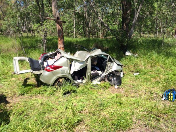 The wreckage from a Carmila car crash on January 21, 2014.