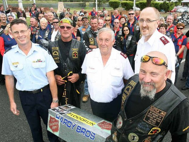 NO GO: Jim Abra (right) organiser of a charity motorcycle ride from Newcastle to Amberley RAAF Base in 2012. Jim is joined by Simon Wickson from the RAAF, Chris Rossington and Salvation Army members Bruce Dobbie and Greg Pack.
