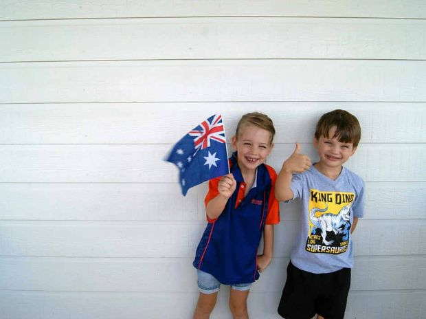 SUPPORT A MATE: Madison Jones and William Gardner show their Australia Day pride.