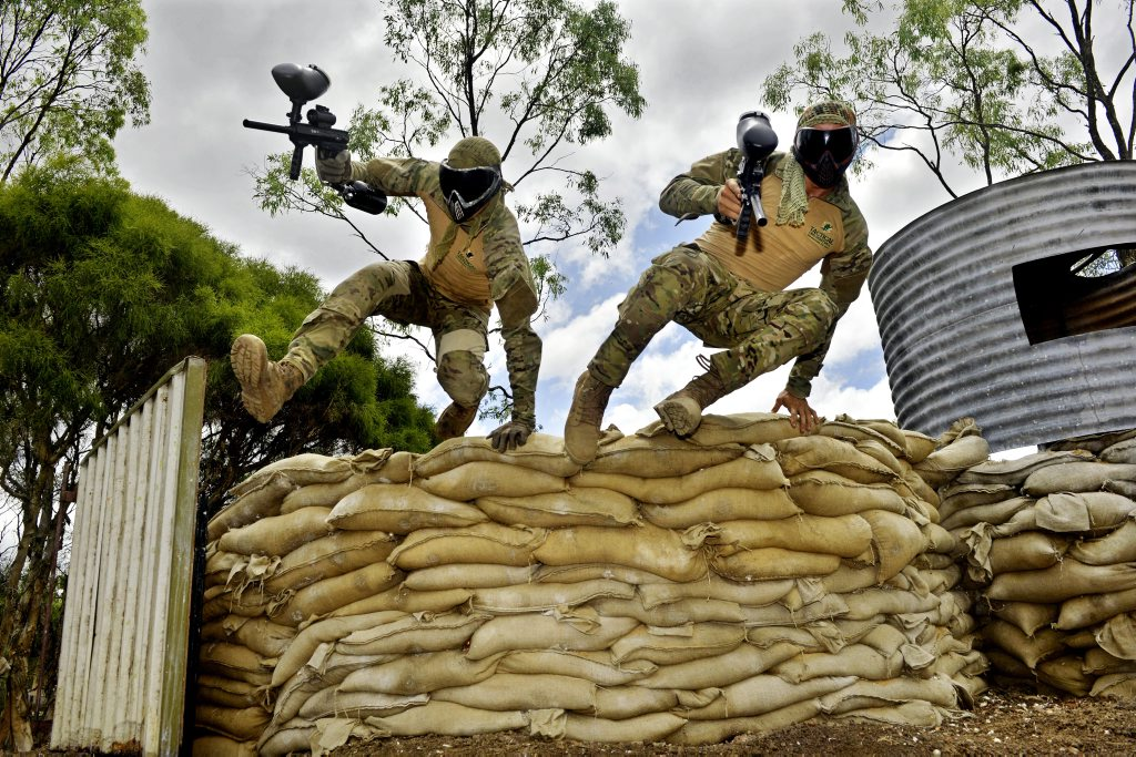 Brothers Jack, Harry and Ben Carew are opening Tactical Operations Paintball in Calvert. The brothers have designed and built the war and video game inspired strike zones. Photo: Claudia Baxter / The Queensland Times