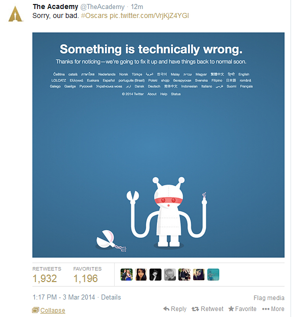 The Academy apologises for shutting down Twitter.