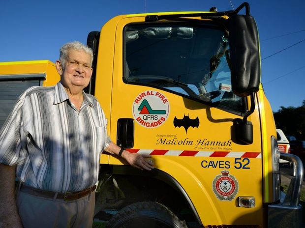 Malcolm Hannah stands beside Caves 52 which has been named in his honour after his donation to the The Caves Rural Fire Brigade. Photo Allan Reinikka / The Morning Bulletin