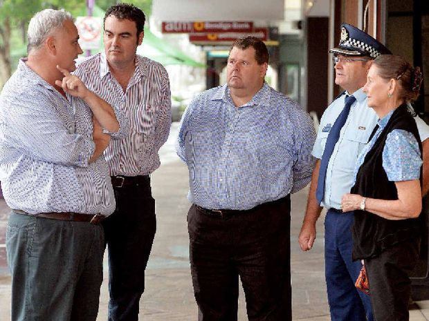 Bar Link chairman Mark Laffin (left), Member for Whitsunday Jason Costigan, Mackay Taxis' Gary Button, Mackay police Inspector Andy Graham and street chaplain Rev Ann Dittmar-McCollim discuss the State Government's Safe Night Out Strategy in the CBD.