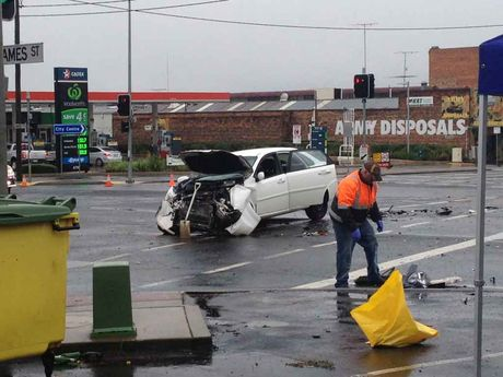 One of the cars involved in a serious traffic crash in Toowoomba this morning.