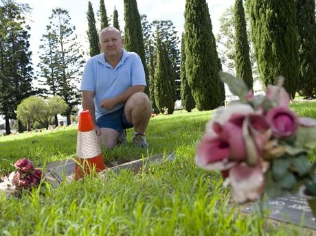 George Helon is concerned about subsidence of grave sites at Drayton and Toowoomba Cemetery after heavy rainfall events, Tuesday, April 01, 2014. Photo Kevin Farmer / The Chronicle