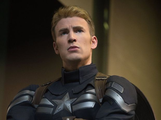 Chris Evans as Captain America.