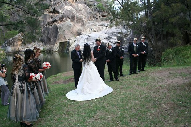 Andrew and Amy Farrell tied the knot at the picturesque Coomba Falls. Photo Contributed