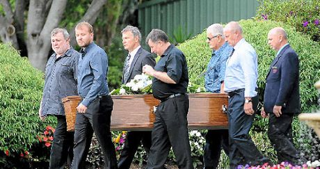 Pallbearers carry Juraj Glesk's coffin yesterday.