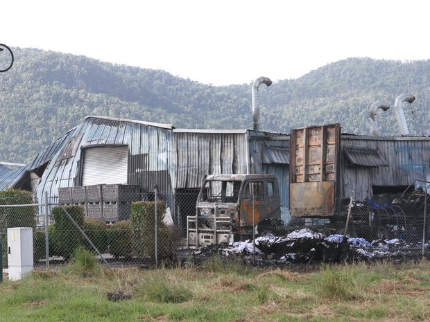 The remains of an industrial laundry which supplies linen to Hamilton Island went up in flames in Cannonvale.