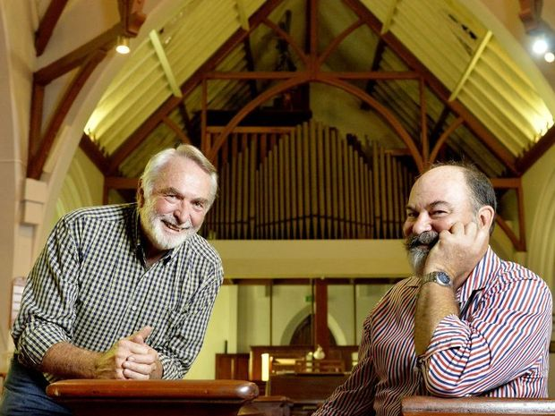 ORGAN TRANSPLANT: St Paul's Anglican Church organ committee chairman Grantley Chaplin and Yamanto opera singer David Hibbard are excited about the restoration of the state's oldest pipe organ.