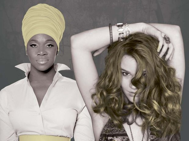 Singers India Arie, left, and Joss Stone.