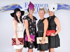 Fashions on the field winners (from left) third place Emma Price, second place Liz Whitehead, first place Alice Williams, best facinator Millie Bradlywoods during the Easter Festival Race Day at Ferguson Park.