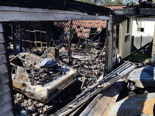 DISASTER: The burnt shell of a home that went up in flames in Bellbird Park on Saturday.