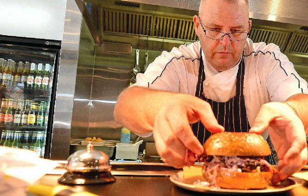 FOOD FRENZY: Tony Kelly's Hello Harry burger joint sold out of burgers at the Ocean St World Festival on Sunday.