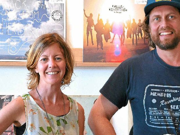 VINTAGE SOUND: Sarah Bentley and Ben Mannaa at their new store, Guitar Bazaar in Byron Bay, which sells vintage and used guitars, vinyl records and record players.