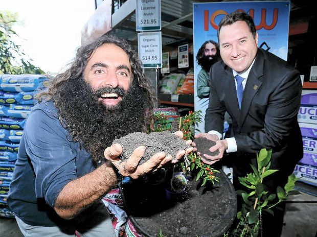 BLACK GOLD: Costa Georgiadis launches International Composting Week at Kunara Organic Marketplace with Environment Minister Andrew Powell.