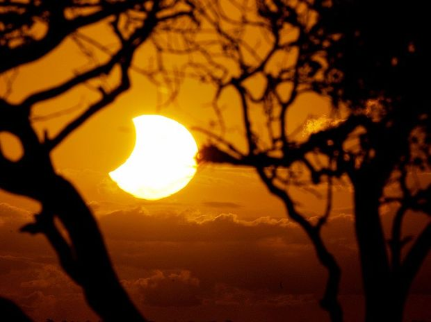 The partial solar eclipse as seen from Gatakers Bay.