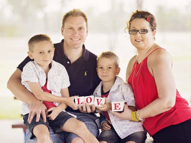 Sheree McLeod with her husband Wade and sons, Lachlan and Riley.