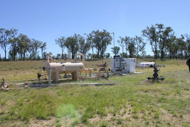 An disused gas well and separator station on private property near Roma. Photo: Hamish Broome / The Northern Star